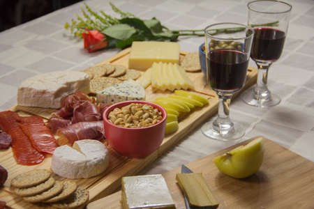 table for cheeses and tasting