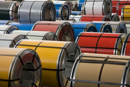 Rolls of colorful steel sheet photo