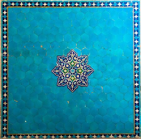 Texture of ancient blue tiles photo