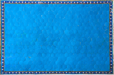 Textured ancient blue tiles photo
