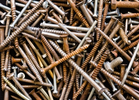 texture of crowded bolts  Stock Photo