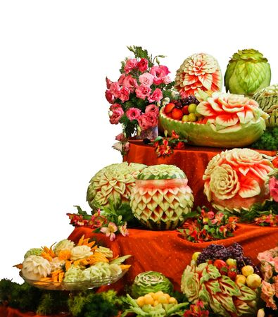 Assortment of fresh carved mix fruits