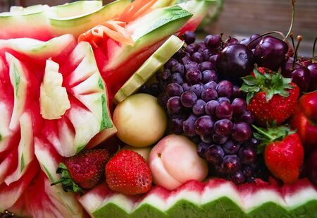 Fresh carved mix fruits