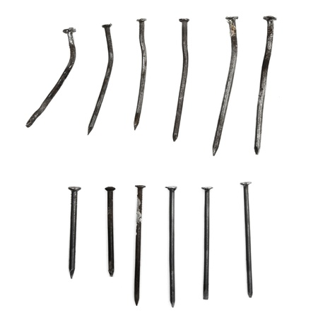 Collection of Different Objective Crooked   Straight Nails