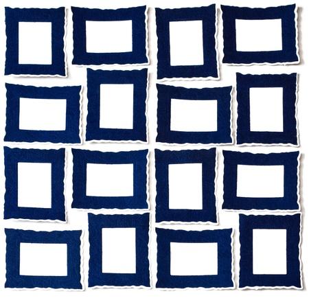 16 Landscape Portrait blauen Rähmchen Standard-Bild
