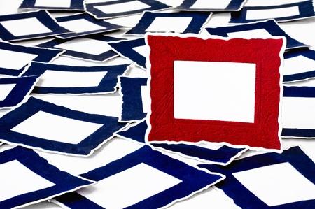 Viele blauen Rähmchen unter Eine Kulturlandschaft Rot Rahmen