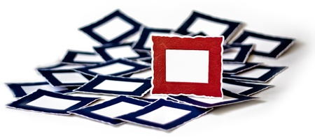 Many Blue Frame Under One Standing Red Frame photo