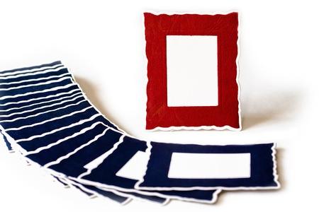 Porträt Rot Rahmen Viele Blauen