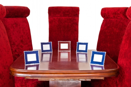 Red Chairs   Name Tag around Table photo