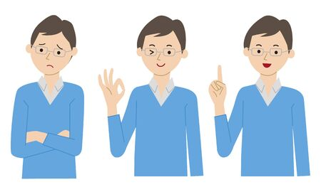 Men's troubled, explaining, and laughing pose set