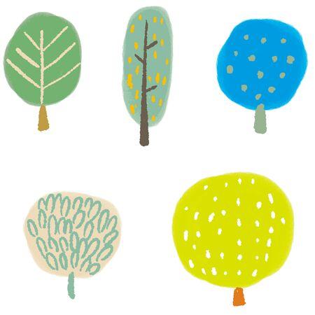 Scandinavian style tree illustration vector set  イラスト・ベクター素材