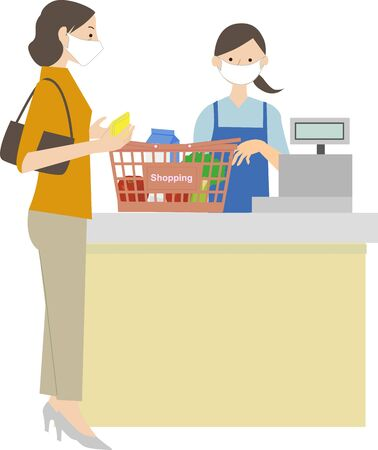 a woman wearing a mask and lining up at the cash register