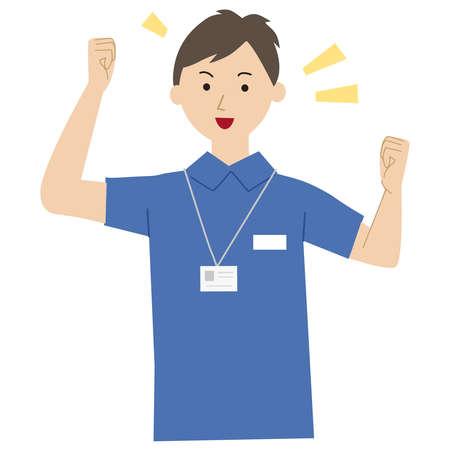 Care staff pose vector illustration