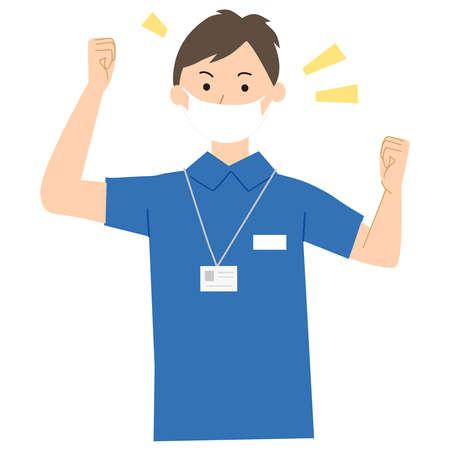 Care staff pose vector illustration Stock Illustratie