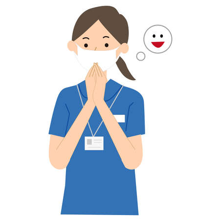 Care worker woman pose illustration
