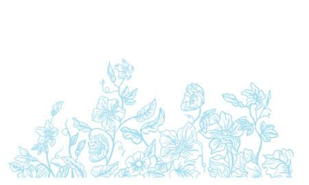 Hand painted plant line drawing background material  イラスト・ベクター素材