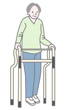 Illustration of elderly people rehabilitating