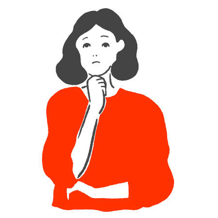 Vector illustration of a woman pondering