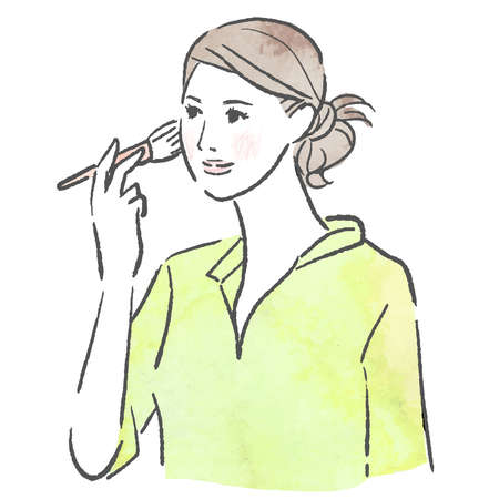 Vector illustration of a woman applying makeup