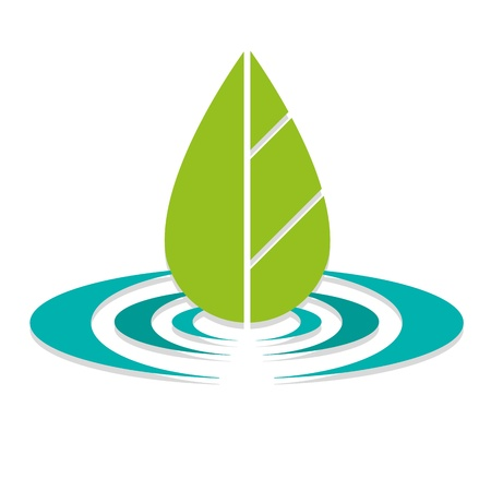 calm water: Leaf On Lake Eco Logo Illustration