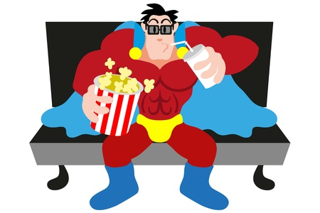 3D glasses: Funny superhero watching a movie