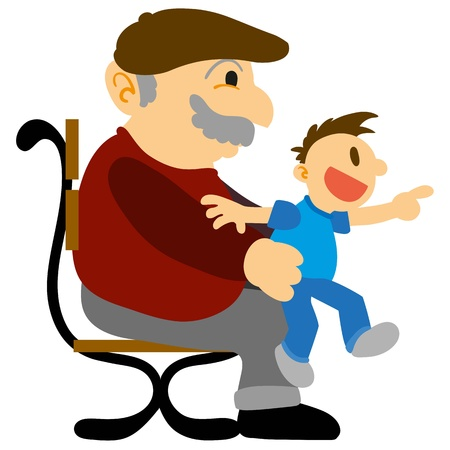 Grandfather with his grandson on a park chair Vector