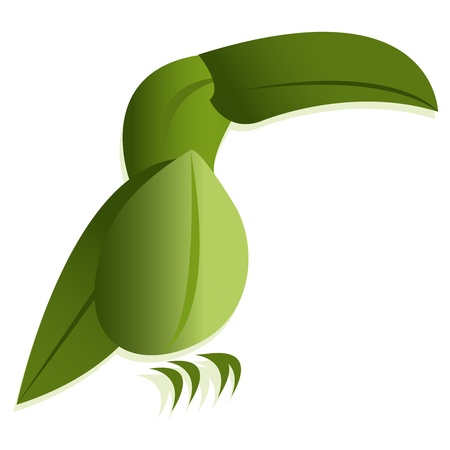 Bird of leaves stylish eco logo