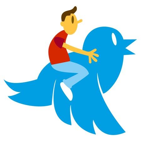conection: Cartoon man driving a big blue bird