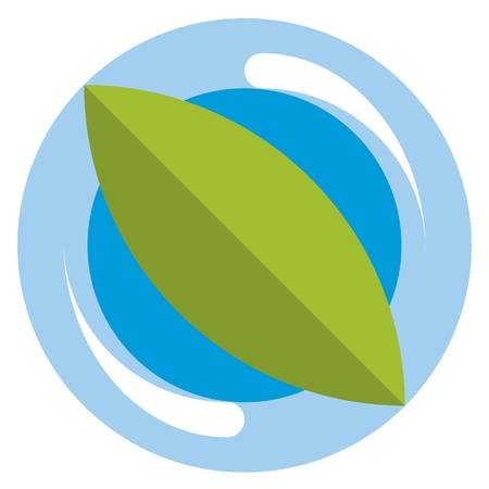green leaf and blue water eco logo Vector