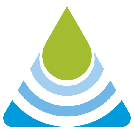 ecology emblem: green leaf and blue water eco logo Illustration