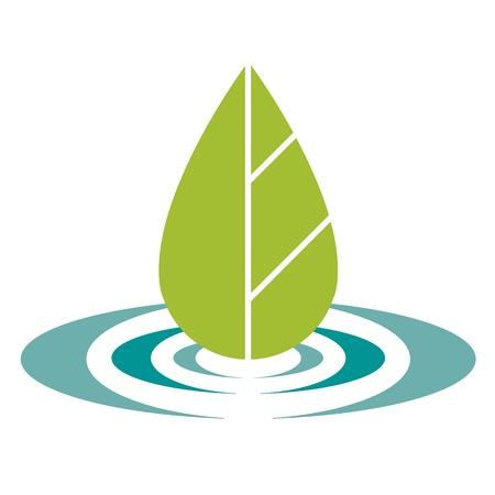 eco logo: green leaf and blue water eco logo Illustration