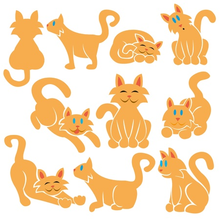 A set of cute differents vector cats