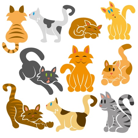 A set of cute differents vector cats Vector