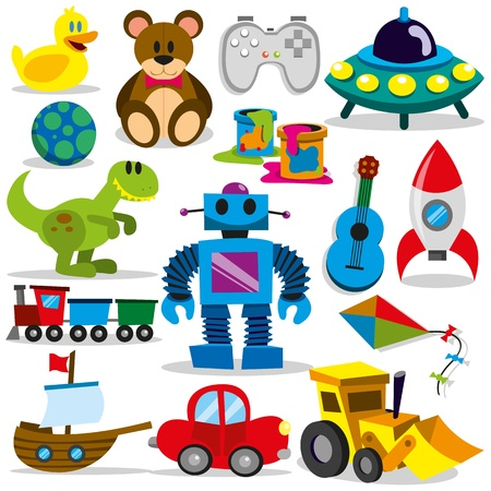robot cartoon: A set of differents cute vector toys Illustration