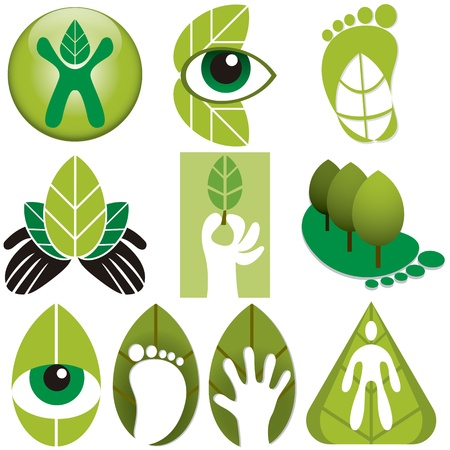 life style people: A set of different vector eco logos