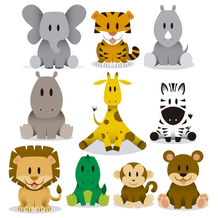 A set of cute vector cartoon wild animals Çizim