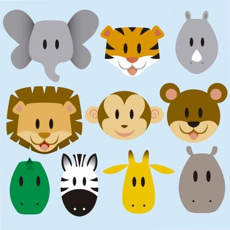 rhinoceros: A set of cute vector cartoon wild animals Illustration
