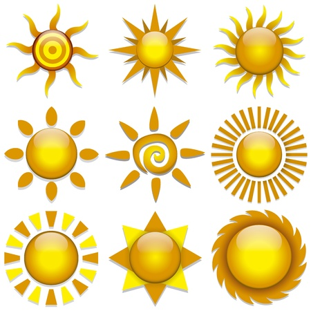 Vector set of color stylish sun icons Vector