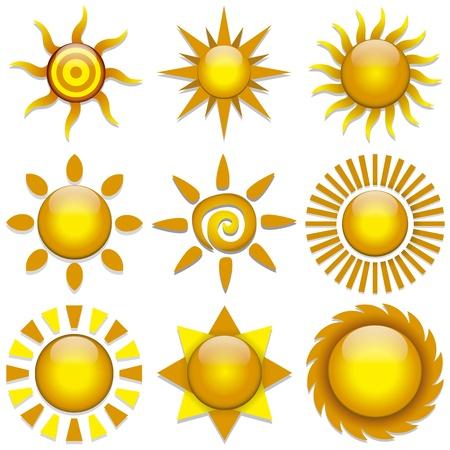 morning sunrise: Vector set of color stylish sun icons
