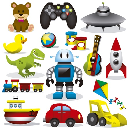 carritos de juguete: Un conjunto de differents lindos juguetes vector