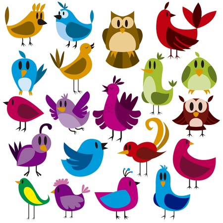 A cute vector set of 20 cartoon birds Illustration