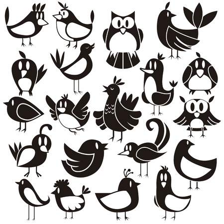 black bird: A cute vector set of 20 cartoon birds Illustration