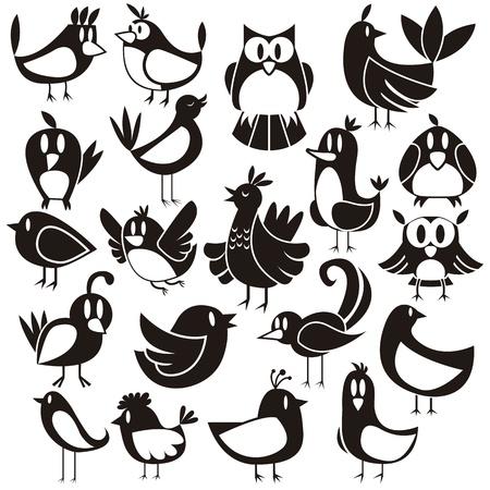 blanco negro: Un conjunto de vectores lindo de 20 p�jaros de la historieta Vectores