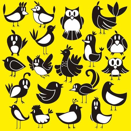 birds  silhouette: A cute vector set of 20 cartoon birds Illustration