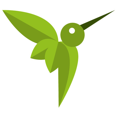 Vector Stylish Abstract Hummingbird Of Leaves Icon Vector