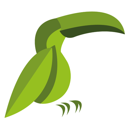 parrot flying: Vector Stylish Abstract Toucan Of Leaves Icon Illustration