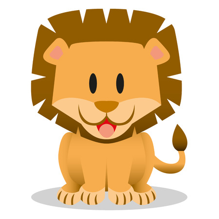 lion drawing: A vector cute cartoon baby lion icon
