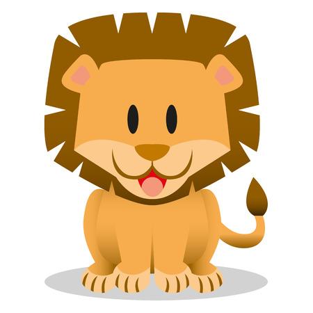 Um ícone de leão de bebê bonito dos desenhos animados de vetor
