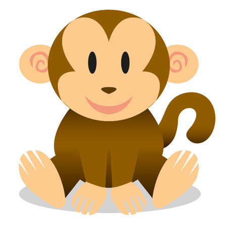 A vector cute cartoon baby monkey icon