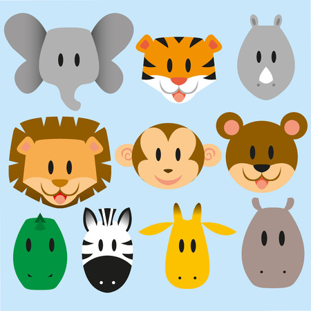 set of cute vector cartoon wild animals Vector